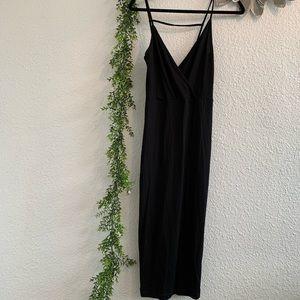 ASOS jersey knit black dress, deep V neckline